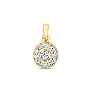 Diamond Cluster Pendant Yellow Gold Hallmarked 0.10ctw Appraisal Certificate