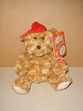 DRAGON i TOYS BROWN PLUSH SINGING HIPHOP BIRTHDAY BEAR RED HAT NEW 9''