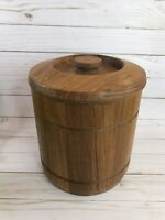 "Goodwood Genuine Teak Ice Bucket Cooler with Lid Liner 8"" Mid Century Modern"