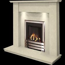 MARBLE CREAM STONE SURROUND CHROME INSET GAS FIRE FIREPLACE SUITE DOWNLIGHTS