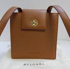 Bvlgari Luggage Brown Pebbled Leather Turnlock Shoulder Bag Italy