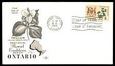 Canada Fdc Ontario Floral Emblem White Trillium 1964 Rosecraft Fdc Unsealed