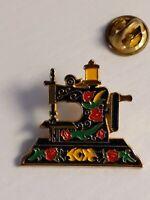 Clotilde Enameled Sewing Machine Tie Tack, Lapel Pin 1970s Vintage Retro