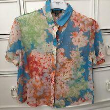 Topshop Multi-Coloured Print Sheer Blouse (Size 4)