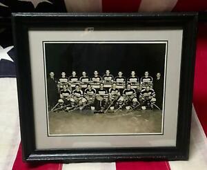 "Vintage 1930s Hershey Bears Hockey Team Group Photograph 8""x10"" Framed Antique"
