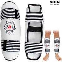Boxing Kickboxing MMA Shin Guards Protector Leg Pad Guard White Pair