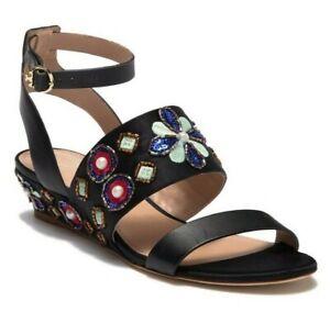 Tory Burch Estella Women's Beaded Satin & Leather Wedge Sandal Black Size 10.5