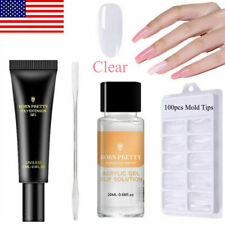 20ml Quick Poly Extension Gel Slip Solution Nail Brush Tips Spatula Stick Set