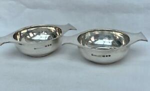 Fine Pair of Asprey Hallmarked Sterling Silver Quaich London 1919