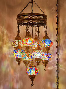 PLUG IN or WIRED 9 Orb Turkish Moroccan Mosaic Hanging Ceiling Chandelier Light