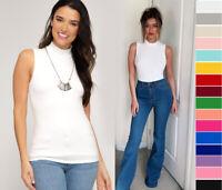 S M L Women's Mock Neck Sleeveless Tank Top Soft Stretch Knit Cotton Basics