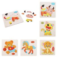 Cartoon Animal Wooden Puzzle Jigsaw Early Learning Baby Kid Educational Toy QP