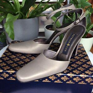 Patrick Cox Taupe Evening Shoe Ankle Strap Leather Heels Vintage 39 /UK6 BNIB