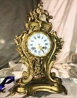 Louis XV Rococo , 19th C Antique Mantle  Pendulum Clock , Gilded , Perfect Time