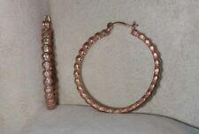 """Ross Simons Satin 18k Rose Gold/Sterling Silver cz big hoop 1.25-1.5"""" Earrings"""