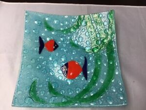 Decorative Glass Bowl / Plate (Red Fish)