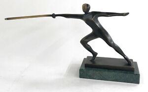 Original Mario Nick Fencer Dark Patina Green Marble Base Sculpture Statue Decor