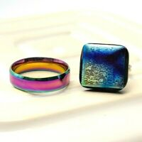 Iridescent Rings Set of Two Eclectic Jewellery