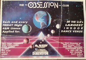 club obsession nov 92 @ parkhall  wormelow rave flyer *damaged*
