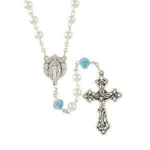 "Rosary of Mary's Rose Garden 19.5"" Glass 6 mm Glass"