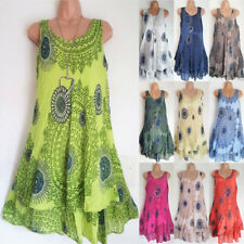 Plus Size Womens Boho Floral Sundress Ladies Casual Summer Beach Party Dress
