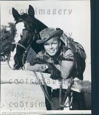 1957 Actor Richard Jaencke With Horse in Western Movie 3 10 to Yuma Press Photo