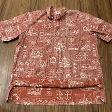 Reyn Spooner Mens Xxl Hawaiian Half Button Down Shirt Red Anchors Reverse Print