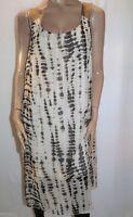 Suzanne Grae Brand Cream and Brown Print Midi Length Dress Size M BNWT #LIN
