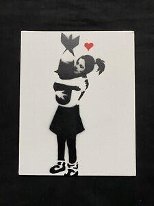 BANKSY Souvenir Canvas Board Spray Art With COA- Girl Hugging A Bomb
