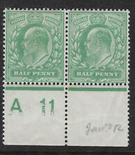GB :ED VII 1/2d yellow- green control A 11 perf 15x14 PERFORATED margin mint pr