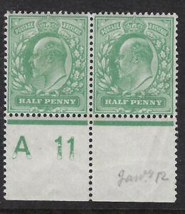 GB :ED VII 1/2d yellow- green control A 11 perf 15x14 PERFORATED margin mint pr