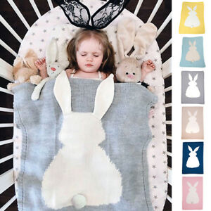 Baby Knitting Wool Bunny Blanket Crocheted Sofa Beach Quilt Rug Crib Buggy Wrap
