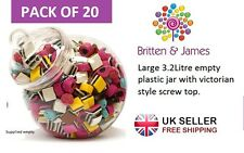 20 x Large Round Plastic Jars 3.2L Victorian Wedding Party Sweet Buffet Candy