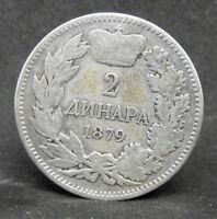 SERBIA 2 DINARA 1879  SILVER COIN   #1087