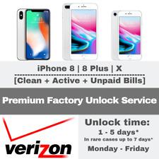 PREMIUM UNLOCK VERIZON SERVICE FOR IPHONE 8 8+ X FINANCED CONTRACT