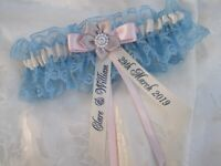 PERSONALISED BLUE LACE & IVORY, PINK & SILVER-GREY SATIN WEDDING GARTER BOXED