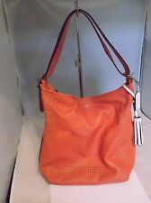 Coach 22762 Legacy Tassel Watermelon Coral Leather Duffle Shoulder Bag