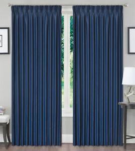 Blackout Pinch Pleat Curtain Blockout Window Curtain Drapes Dark Blue 1Panel