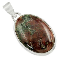 24.38cts Natural Green Grass Garnet 925 Sterling Silver Pendant Jewelry D41579