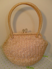 Bags by Josef Hand Made Italy Woven Pink Iridescent Purse Satchel Handbag