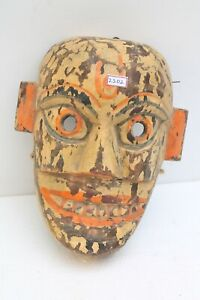 1900's Vintage Old Hand Carved Wooden Folk Tribal Wall Hanging Mask NH2202
