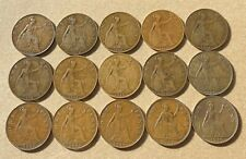 1905 - 1939 GREAT BRITAIN One Penny Lot Of FIFTEEN (15) Coins - LARGE CENTS