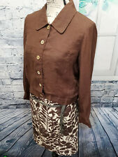 Talbots Women's 100% Irish Linen Brown 3 Piece Top / Jones Skirt Suit | Sz 6