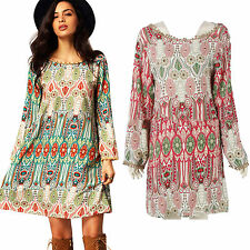 Womens Long Sleeve Ethnic Gypsy Ladies Beach Boho Blouse Kimono Short Mini Dress