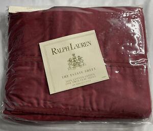 New Ralph Lauren Estate Sheet Cotton Sateen Damask Red Flat Sheet Twin