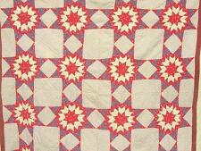 1860s Broken Star Quilt Early Calicos Civil War Era Nice Condition Graphic !