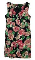 Talbots Sheath Dress 10 Black Pink Green Floral Roses Spring Career Wear NWOT