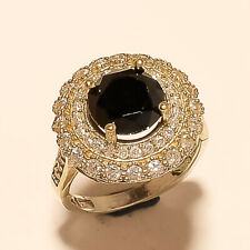 Sterling Silver Two Tone Fine Jewelry Aa Natural Black Spinal Half Band Ring 925