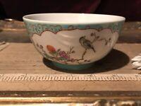 "Asian Porcelain Famille Verte Rice Bowl Bird & Floral 4 1/2""x2 1/4"" Marked"