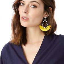 Hot Zebra-stripe Chunky Tassel Drop Earrings Statement Loop Skirt Ethnic Jewelry